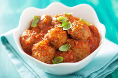 Meatballs with tomato sauce in bowl Royalty Free Stock Photos