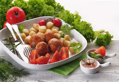 Meatballs with tomato sauce - closeup Royalty Free Stock Photos