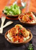 Meatballs with tomato sauce with couscous Royalty Free Stock Photography