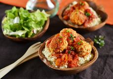Meatballs with tomato sauce with couscous Stock Photos