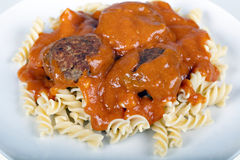 Meatballs with tomato sauce and fusilli Stock Images