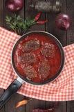 Meatballs in tomato sauce. Kofta, oriental ground beef or lamb meatballs cooked in tomato sauce Stock Photography