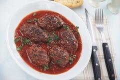 Meatballs in tomato sauce. Kofta, oriental ground beef or lamb meatballs served in tomato sauce Stock Images