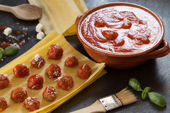Meatballs In Tomato Sauce And Lasagna Sheets Stock Photos