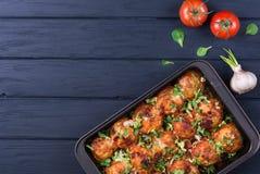 Meatballs in tomato sauce stock photo
