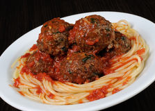 Meatballs in tomato sauce with spaghetti Stock Photography