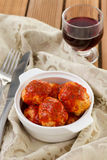 Meatballs with tomato sauce with wine Stock Images