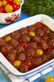 Meatballs and tomatoes in tomato sauce Royalty Free Stock Photography