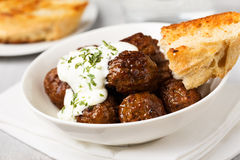 Meatballs with tsatziki Royalty Free Stock Images
