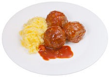 Meatballs under meat sauce and mashed potatoes Stock Image