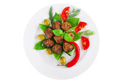 Meatballs and vegetables Royalty Free Stock Photo
