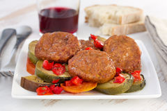 Meatballs with vegetables Royalty Free Stock Photography
