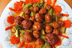 Meatballs and vegetables Royalty Free Stock Photography