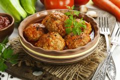 Meatballs with vegetables stock photos