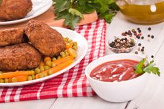 Meatballs on white dish. Stock Images