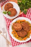 Meatballs on white dish. Royalty Free Stock Photography