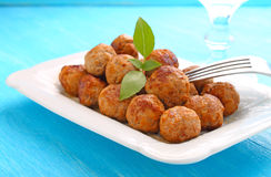 Meatballs on a white plate Royalty Free Stock Image