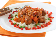 Meatballs With Sauce And Rice Stock Image