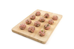 Meatballs on wood. Meatballs placed in order on a wood Stock Photo