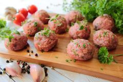 Meatballs on a wooden desk Stock Image