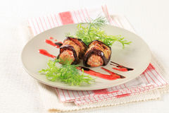 Meatballs wrapped in eggplant Royalty Free Stock Images