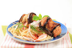 Meatballs wrapped in eggplant and spaghetti Royalty Free Stock Photography