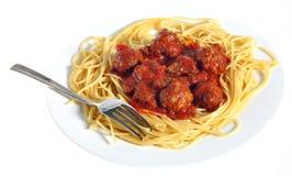 meatballsplattaspagetti Royaltyfri Foto