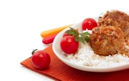 meatballsrice Royaltyfri Bild