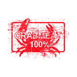 Meatcrab 100 per cent  - red rubber grungy stamp in rectangular. With dirty background vector illustration Stock Photo