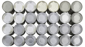 Metal cans arranged in rows and columns Stock Image