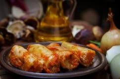 Meatless заполненная капуста с луками и hryvnia Стоковые Изображения