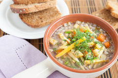 Meatless vegetable soup in a tureen Stock Photos