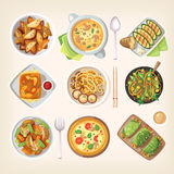 Meatless vegetarian cuisine. Set of colorful tasty healthy meatless dishes, cooked food from vegetarian cuisine Royalty Free Stock Image