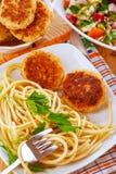 Meatliten pastej och pasta Fotografering för Bildbyråer
