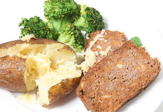 Meatloaf baked potato broccoli and cheese Royalty Free Stock Photos