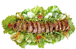 Meatloaf (beef) with salad Stock Photos