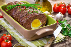 Meatloaf with boiled eggs Royalty Free Stock Photography