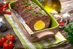 Meatloaf with boiled eggs Stock Photography