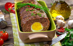 Meatloaf with boiled eggs Stock Photo