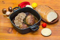Meatloaf, bread and vegetables Royalty Free Stock Photo