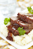 Meatloaf with brown sauce royalty free stock images