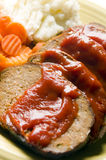 Meatloaf carrots mashed potatoes Stock Photography