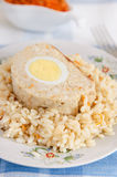 Meatloaf (chicken) with eggs Stock Photos