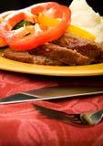 Meatloaf com potates e bróculos triturados Fotos de Stock Royalty Free
