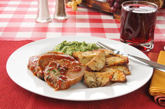 Meatloaf with creamed spinach Royalty Free Stock Photography