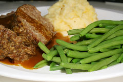 Meatloaf Dinner. Meatloaf, mashed potatoes, green beans and gravy Royalty Free Stock Images