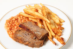 Meatloaf fries and beans horizontal Stock Images