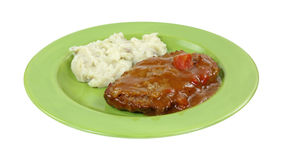 Meatloaf Gravy Mashed Potato On Green Plate Royalty Free Stock Photo