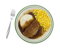 Meatloaf with gravy potatoes and corn TV dinner on plate Royalty Free Stock Photos
