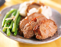 Meatloaf with greenbeans dinner Stock Image